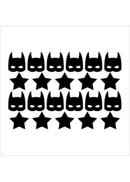 Набор наклеек бэтмен и звезды (цвет на выбор)