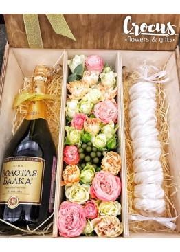 Коробка пенал под 3 бутылки шампанского или вина