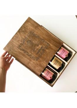 Коробка пенал под 3 бутылки шампанского или вина с Новым Годом
