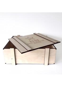 Ящик декоративный мужской с гравировкой.  Размер 28*25 *10 (арт.ja23f)