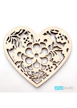 Ажурное сердце с цветами (арт.FL50)