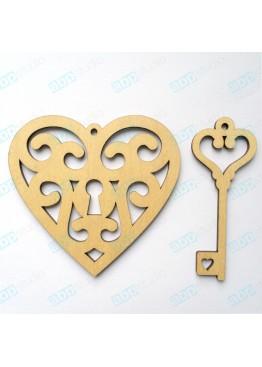 Ажурное сердце и ключик  (арт.FL2)