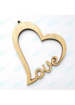 Подвеска сердце love (арт.FL3)