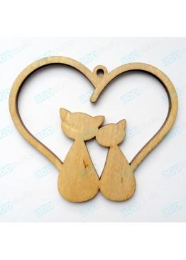 Подвеска сердце котики (арт.FL5)