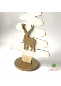 Елка из дерева с оленем. Размер 30см  (арт. SNGd9)