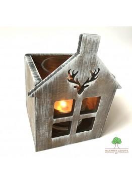 Подсвечник домик с оленем из дерева (арт. SNGd12)