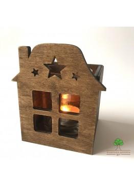 Подсвечник домик со звездами из дерева (арт. SNGd13)