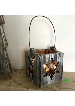 Подсвечник с оленем и снежинкой из дерева (арт. SNGd11)