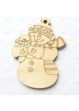 Подвеска Снеговик с мишкой (арт.SNG56)