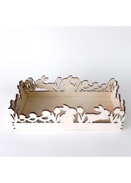 Поднос пасхальный для яиц с кроликами (арт.psh3)