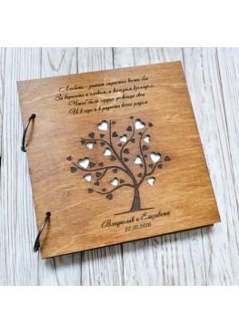 Обложка для книги пожеланий с дерево с сердцами (арт.Kp2). Размер на выбор