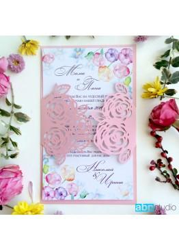 Пригласительные ажурные с розами (арт.i27)
