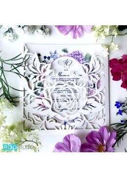 Пригласительные конверт ажурный роза (арт.i52)