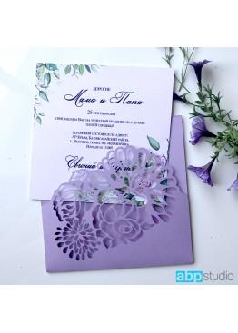Пригласительные конверт с цветами (арт.i56)
