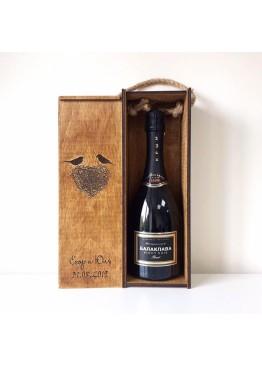 Коробка- пенал под бутылку вина/шампанского с гравировкой Гнездышко