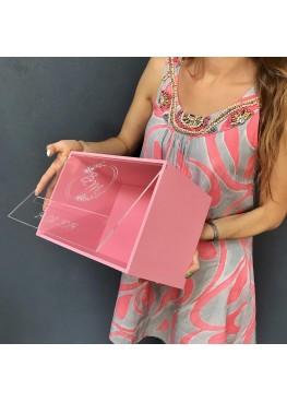 Свадебная коробка с прозрачной крышкой с гравировкой и покраской. Размер: 25х18х18см