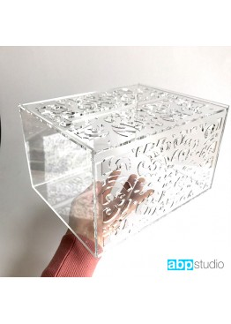 Свадебная коробка для пожеланий с ажурная оргстекло. Размер: 25х20х15см
