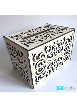 Свадебная коробка для пожеланий с ажурная. Размер: 30х20х20см