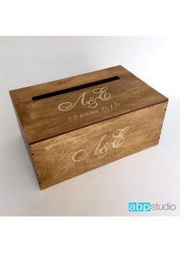 Свадебная коробка для пожеланий с гравировкой и покраской морилкой. Размер: 28х18х12/18см