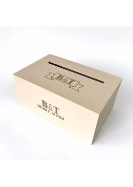 Свадебная коробка для пожеланий с гравировкой и покраской. Размер: 28х18х12/18см