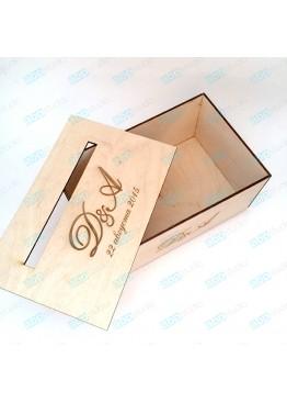 Свадебная коробка для пожеланий с гравировкой. Размер: 28х18х12/18см