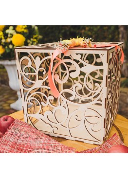 Свадебная коробка для пожеланий дерево 30х30х30см
