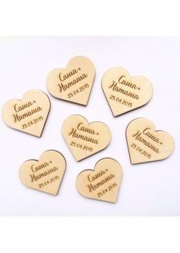 Магнит Сердце с именами (mg2). Минимальный заказ 5 шт.