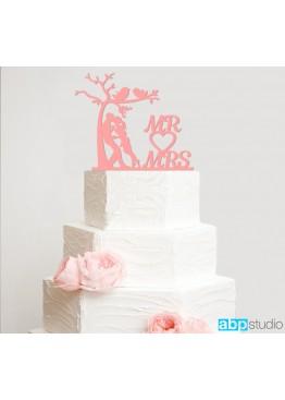 Топер в торт Парочка с деревцем  (арт.tpt18)