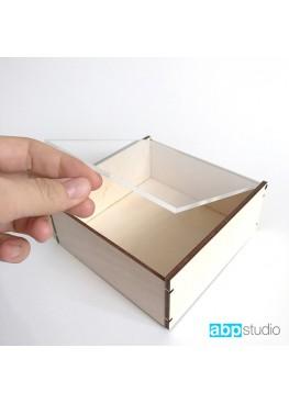 Шкатулка для колец с прозрачной крышкой 12х12х5 (арт. shk12х12)
