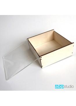 Шкатулка для колец с прозрачной крышкой 8х8х4см  (арт. shk4)