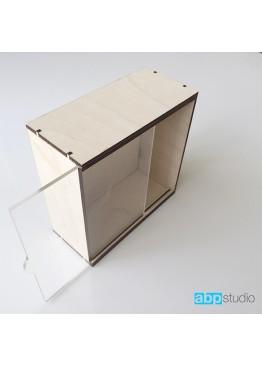 Пенал с прозрачной крышкой.   Размер внешний 19х19х7см. (арт.pn4)