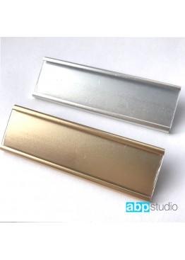 Бейдж с окошком металл золото/серебро 7х2см. Логотип ваш (арт.Bj10)