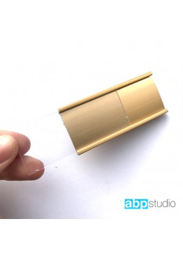 Бейдж с окошком металл золото 7,5х3см. Логотип ваш (арт.Bj11)